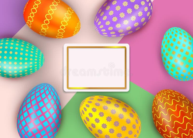 De gelukkige kleurrijke verfraaide eieren van Pasen op abstracte achtergrond met gouden kadergrens De kaartmalplaatje van de vaka stock illustratie