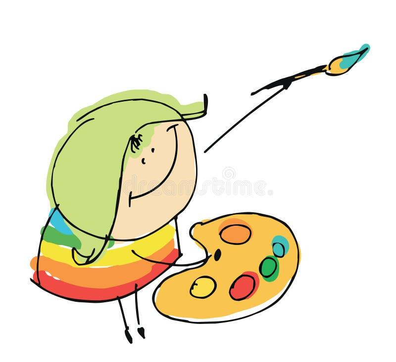 De gelukkige kunstenaar die van het meisjeskind - de vector van beeldverhaalmensen illustr schilderen royalty-vrije illustratie