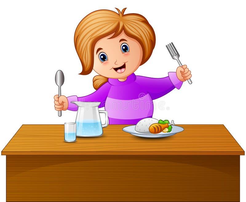 De de gelukkige lepel en vork die van de meisjeholding bij de lijst eten royalty-vrije illustratie