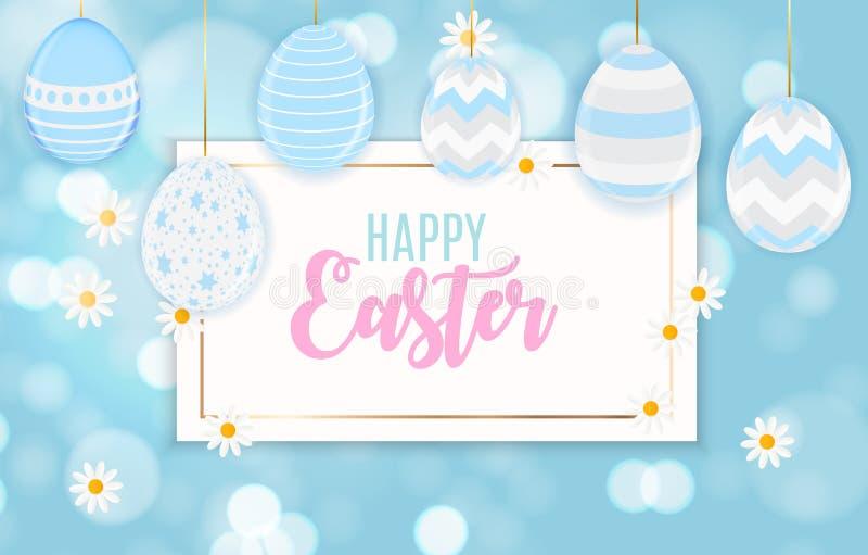 De gelukkige Leuke Achtergrond van Pasen met Eieren Vector illustratie stock illustratie