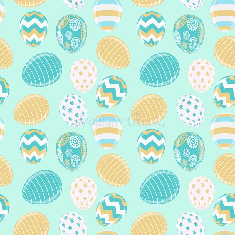 De gelukkige Leuke Achtergrond van Pasen met Eieren Vector illustratie royalty-vrije illustratie