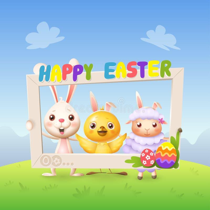 De gelukkige leuke konijntjeskip en het lam vieren Pasen met het sociale kader van de netwerkfoto - spring landschapsachtergrond  royalty-vrije illustratie