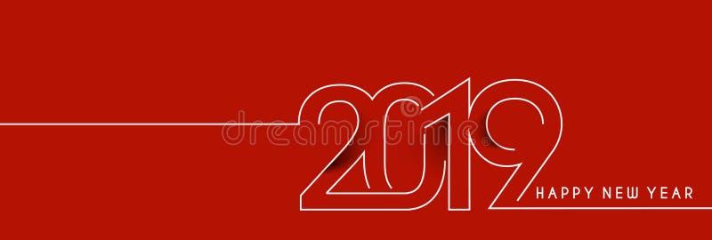 De gelukkige Lijn Art Design Patter van de Nieuwjaar 2019 Tekst stock illustratie