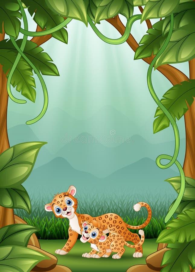 De gelukkige luipaard een activiteit in wildernis royalty-vrije illustratie