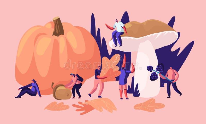 De gelukkige Mannelijke en Vrouwelijke Karakters brengen in openlucht tijd in Autumn Season door, opnemen Gevallen Gele Bladeren, stock illustratie