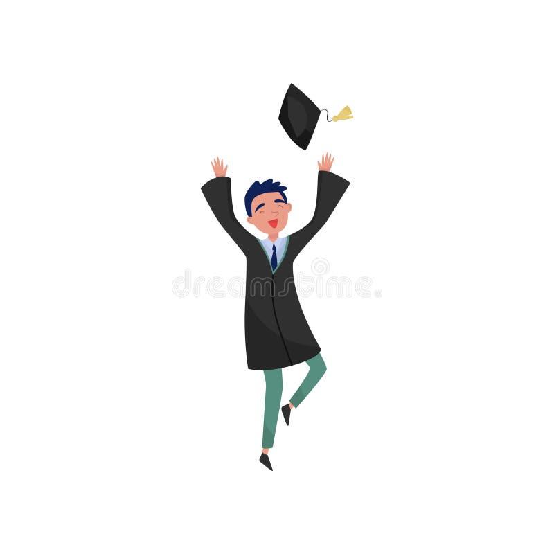 De gelukkige mannelijke gediplomeerde, glimlachende student die van de graduatiejongen in toga graduatieglb vectorillustraties op stock illustratie