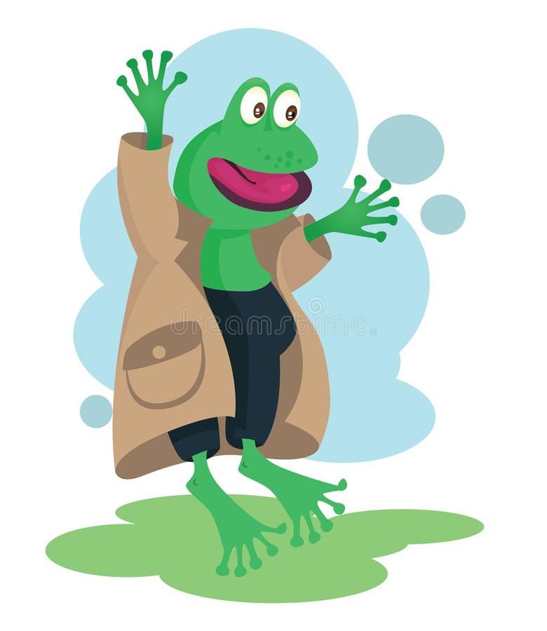 De gelukkige mascotte van de detectivekikker voor jonge geitjesboeken stock illustratie