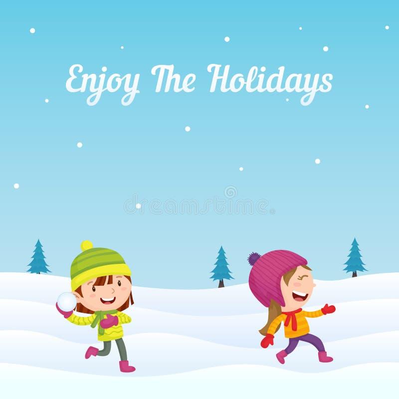 De gelukkige meisjesjonge geitjes genieten looppas en het spelen van sneeuwbal met vriend in wintertijd vectorillustratie als ach vector illustratie