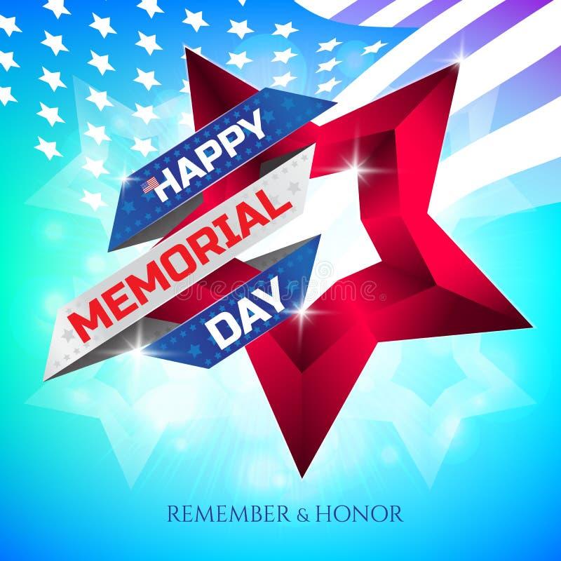 De gelukkige Memorial Day -groetkaart met nationale vlag kleurt lint en rode ster op kleurrijke achtergrond Herinner me en eer stock illustratie