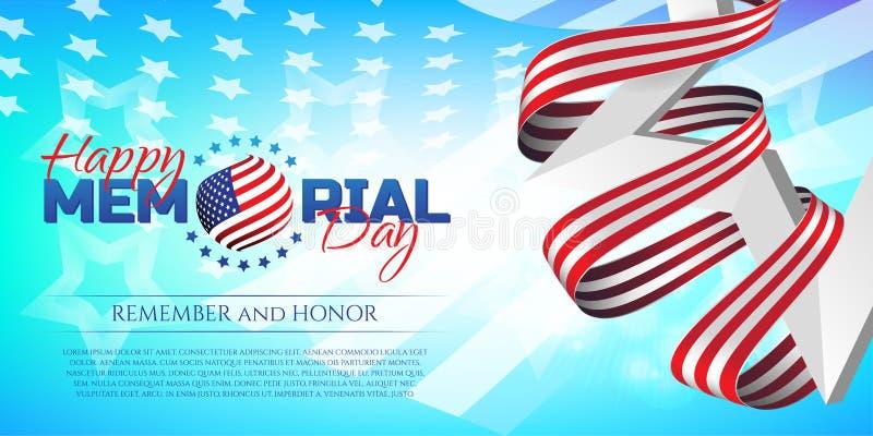 De gelukkige Memorial Day -groetkaart met nationale vlag kleurt lint en witte ster op kleurrijke achtergrond Herinner me en eer royalty-vrije illustratie