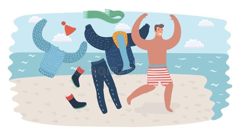 De gelukkige mens bij vakantie het lopen stijgt zijn kleren aan de waterlijn van overzees op zeekust Reizende illustratie voor op royalty-vrije illustratie