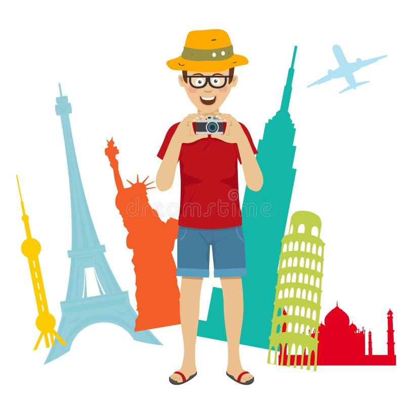De gelukkige mens die van de toeristenfotograaf zich over wereld sightseeing bevinden vector illustratie