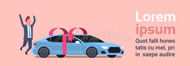 De gelukkige Mens koopt Nieuwe Auto over Vechicle met Lint en Boogachtergrond stock illustratie