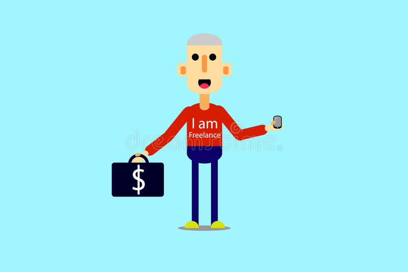 De gelukkige mens met aktentas en draagt smartphone in de stijl van autotoon royalty-vrije stock afbeelding