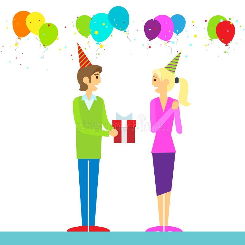 De gelukkige mens van het verjaardagspaar geeft giftdoos vector illustratie