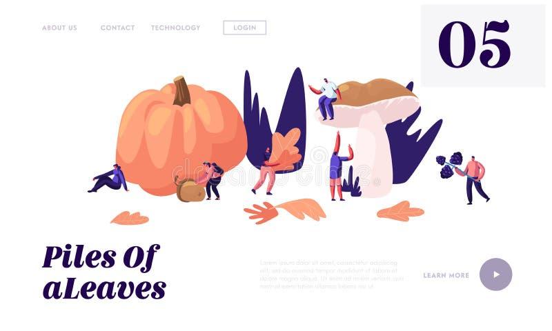 De gelukkige Mensen brengen in openlucht Tijd in Autumn Season door, opnemen Gevallen Bladeren, Paddestoelen, Bessen, Pompoen, Ei royalty-vrije illustratie