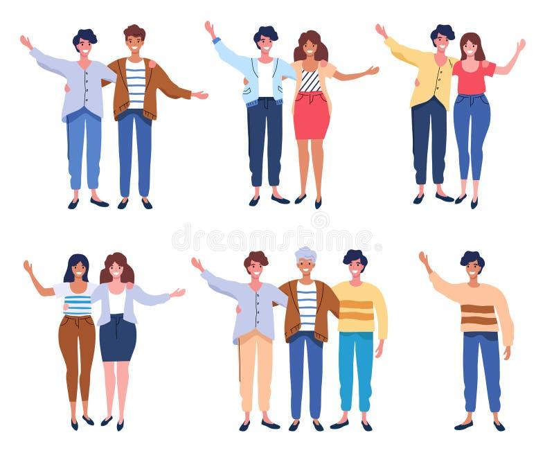 De gelukkige mensen groeperen portret Vrienden die handen, paren golven die elkaar omhelzen vectorillustratie stock illustratie