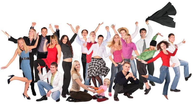 De gelukkige mensen groeperen zich stock afbeelding