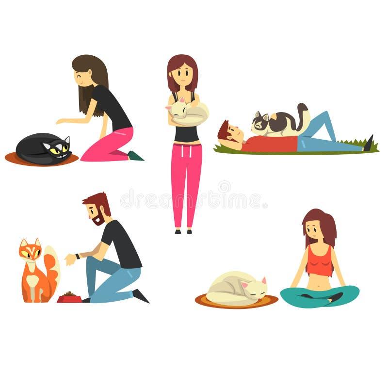 De gelukkige mensen met hun katten plaatsen, leuke huisdieren met hun vectorillustraties van het eigenaarsbeeldverhaal royalty-vrije illustratie