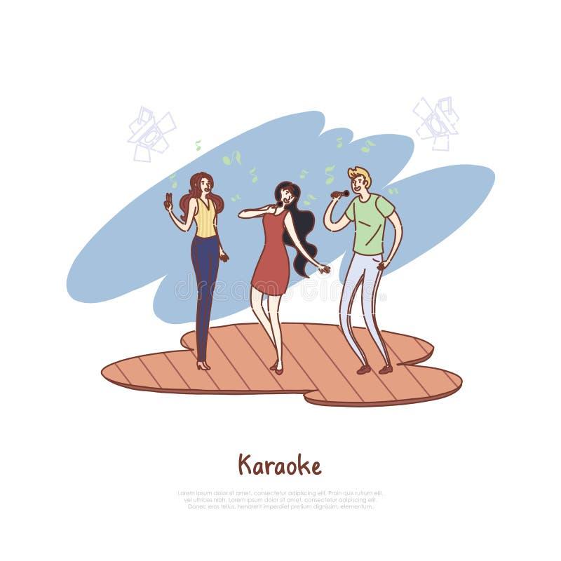 De gelukkige mensen met microfoons, vrienden groeperen vrije tijd, vermaak, de liedconcurrentie, muzikale partijbanner stock illustratie