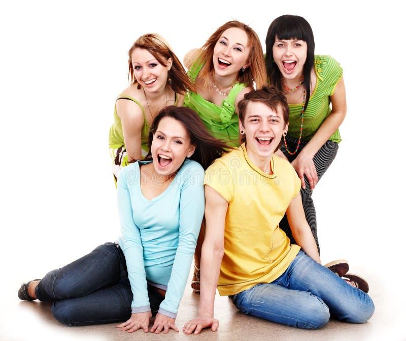De gelukkige mensen van de groep in groen. royalty-vrije stock foto's