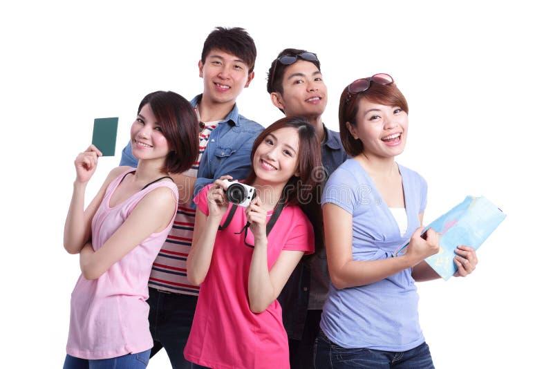 De gelukkige mensen van de groepsreis royalty-vrije stock foto