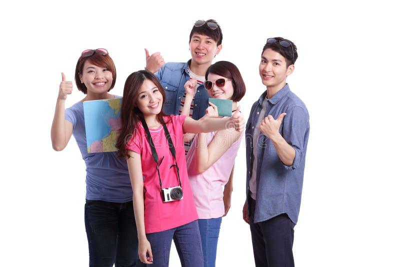 De gelukkige mensen van de groepsreis stock fotografie