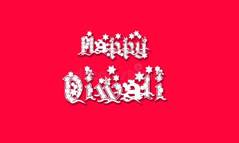 De gelukkige met de hand geschreven inschrijving van Diwali Het festival van India van lichten viert kaartmalplaatje Creatieve ty stock illustratie