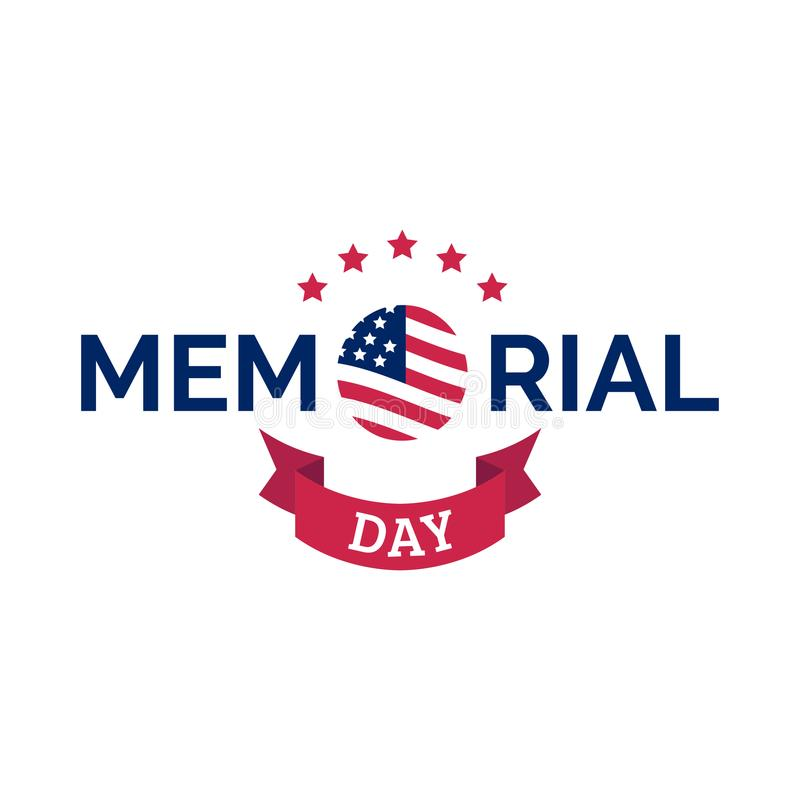 De gelukkige met de hand geschreven uitdrukking van Memorial Day in vector Nationale Amerikaanse vakantieillustratie met de vlag  stock illustratie