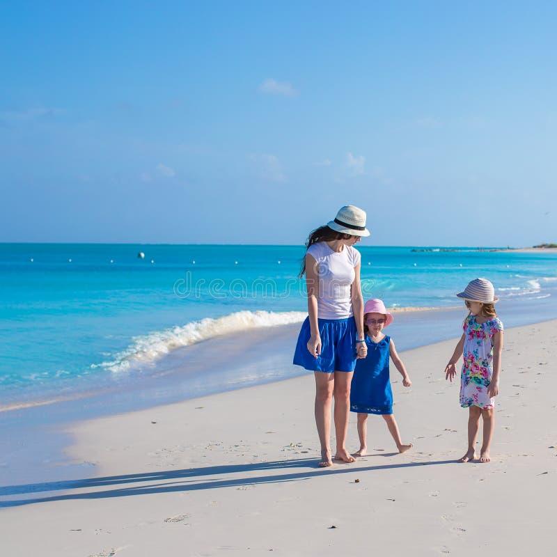De gelukkige moeder en haar meisjes genieten van de zomer stock afbeeldingen