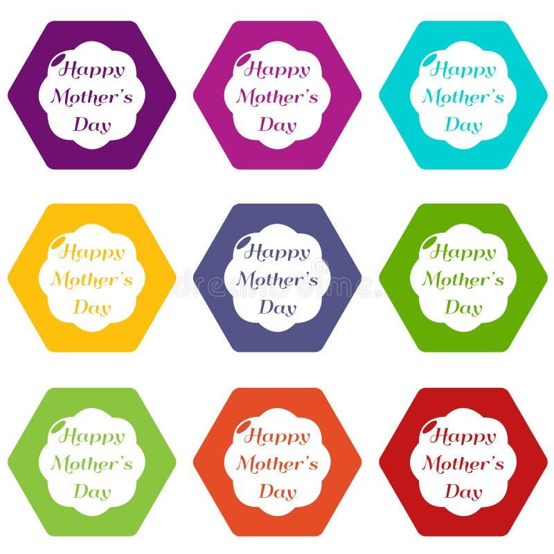 Download De Gelukkige Moederpictogrammen Plaatsen Vector 9 Vector Illustratie - Illustratie bestaande uit bloesem, gelukkig: 114226546