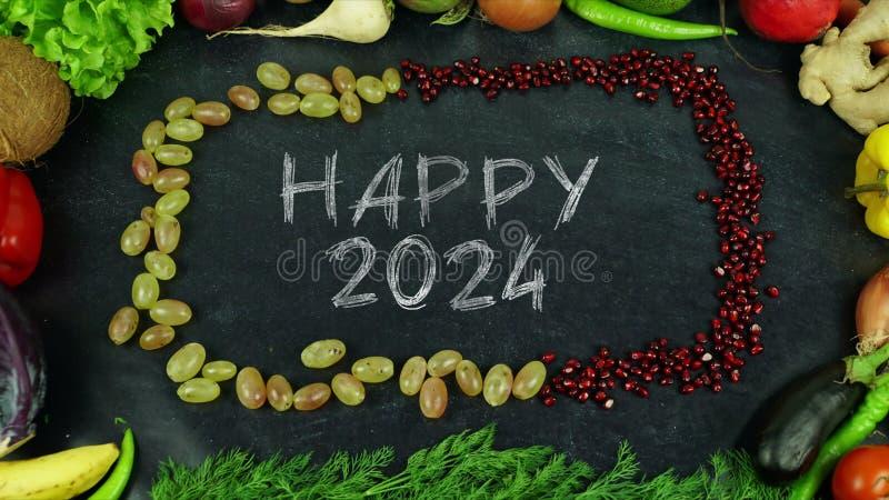 De gelukkige motie van het het fruiteinde van 2024 royalty-vrije stock fotografie
