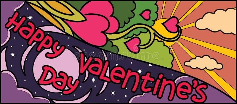 De gelukkige nacht van ANG van de valentijnskaarts dag De vakantie vectorontwerp van hartenbloemen voor bannerinvintation, de ach stock illustratie