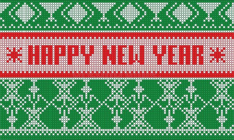 De gelukkige nieuwe gestreepte sjaal van jaarjumper pattern royalty-vrije illustratie