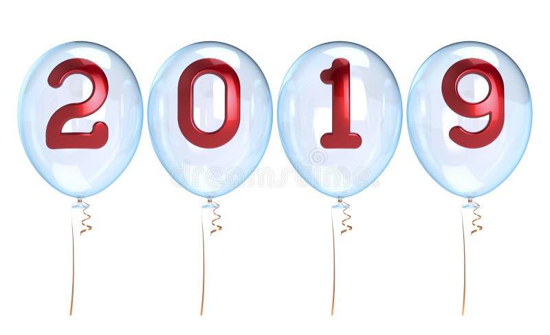 De gelukkige Nieuwe 2019 Jaarballons maken witte doorzichtige glanzend schoon vector illustratie
