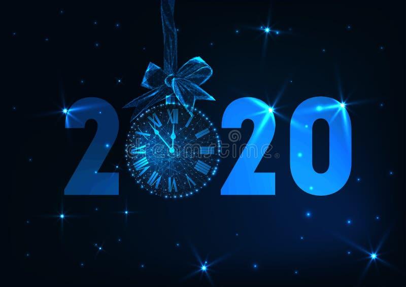 De gelukkige Nieuwe jaarbanner met de futuristische gloeiende lage polyteksten van 2020, klokaftelprocedure, giftboog, speelt mee stock illustratie