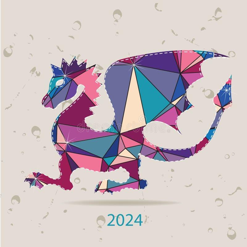 De gelukkige nieuwe kaart van de jaar 2024 creatieve die groet met Draak van driehoeken wordt gemaakt stock illustratie