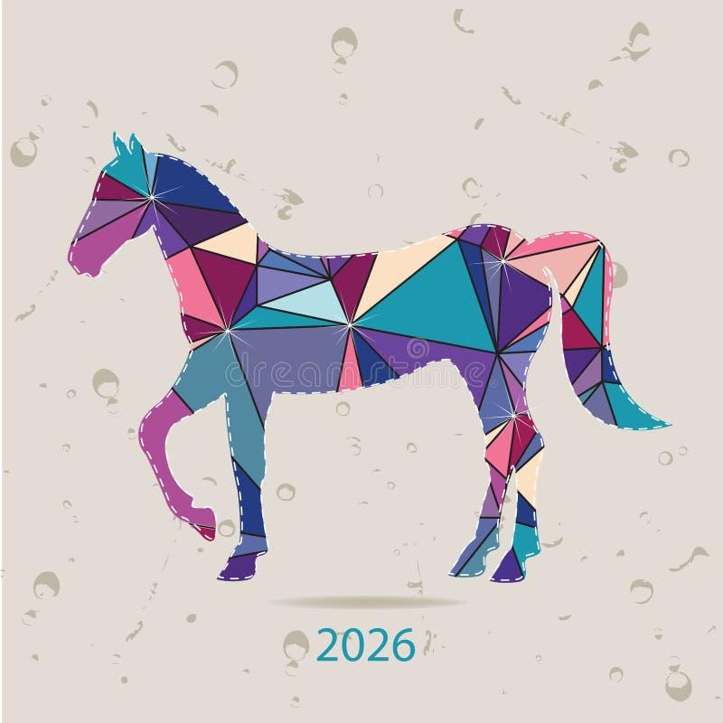 De gelukkige nieuwe kaart van de jaar 2026 creatieve die groet met Paard van driehoeken wordt gemaakt vector illustratie