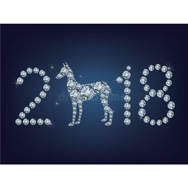 De gelukkige nieuwe kaart van de jaar 2018 creatieve groet met Hond maakte omhoog heel wat diamanten vector illustratie