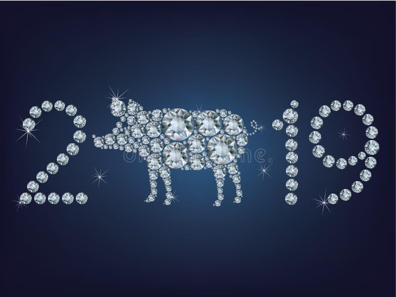 De gelukkige nieuwe kaart van de jaar 2019 creatieve groet met Varken maakte omhoog heel wat diamanten stock illustratie