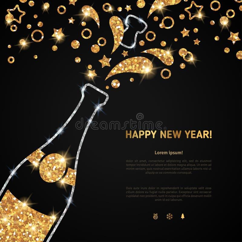 De gelukkige nieuwe kaart van de jaar 2016 groet met champagne royalty-vrije illustratie