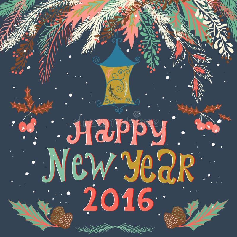 De gelukkige nieuwe kaart van de jaar 2016 groet met tak, lantaarn, hulstbessen, sneeuwvlok Donkere achtergrond Decoratieve sier  royalty-vrije illustratie