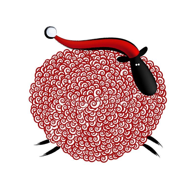 De gelukkige nieuwe kaart van de jaargroet met krullende schapen in Kerstmis stock illustratie