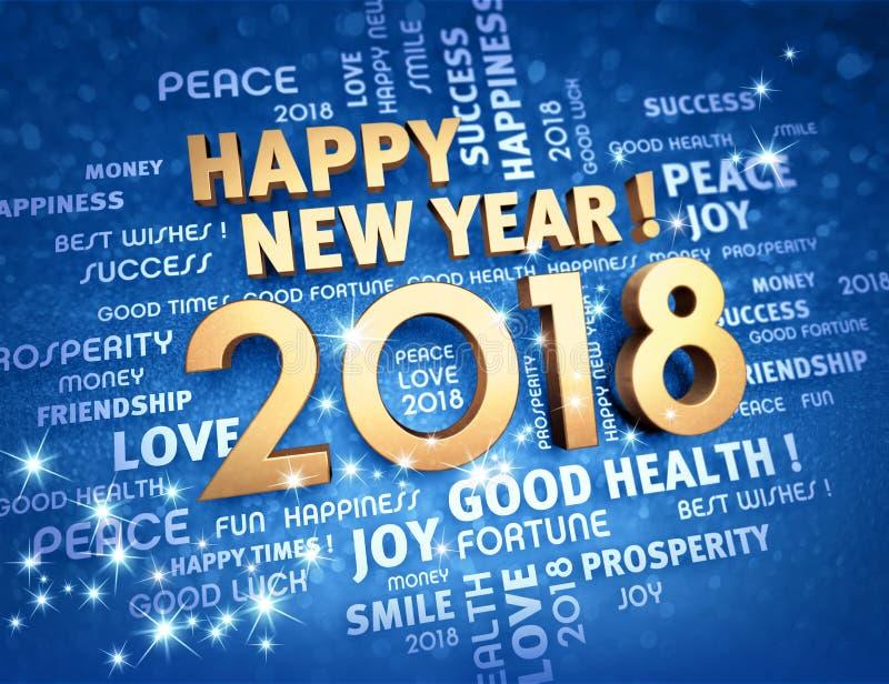 De gelukkige nieuwe kaart van de jaar 2018 groet vector illustratie