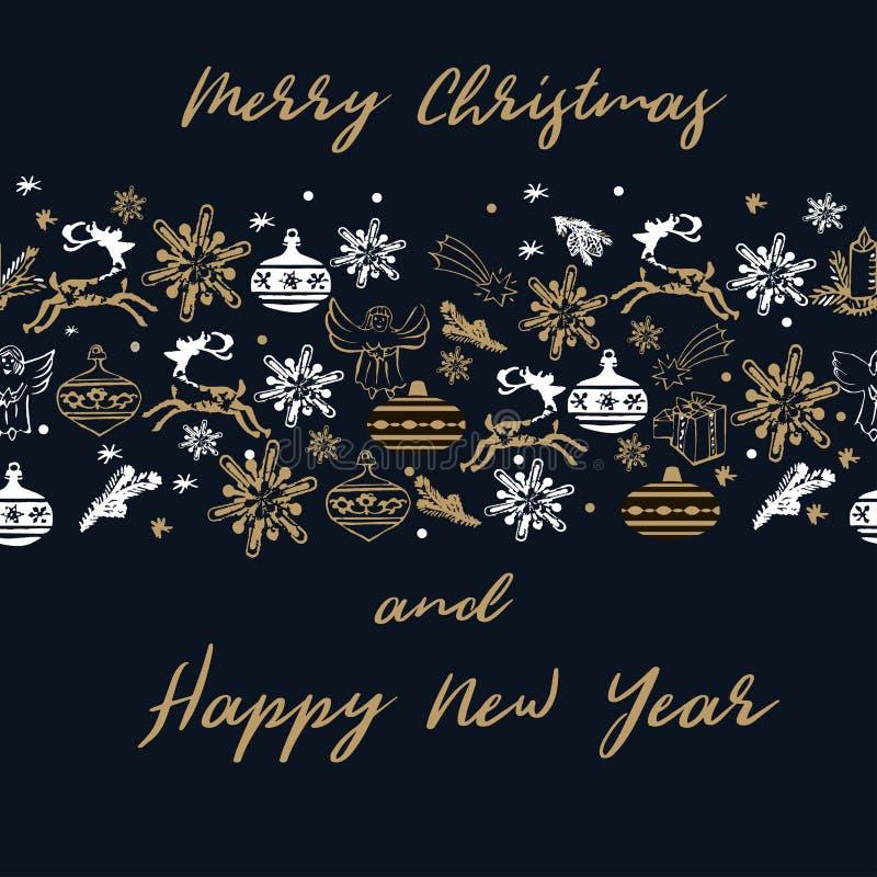 De gelukkige nieuwe kaart van de jaar 2019 groet Deers, gouden sterren, snowflac vector illustratie