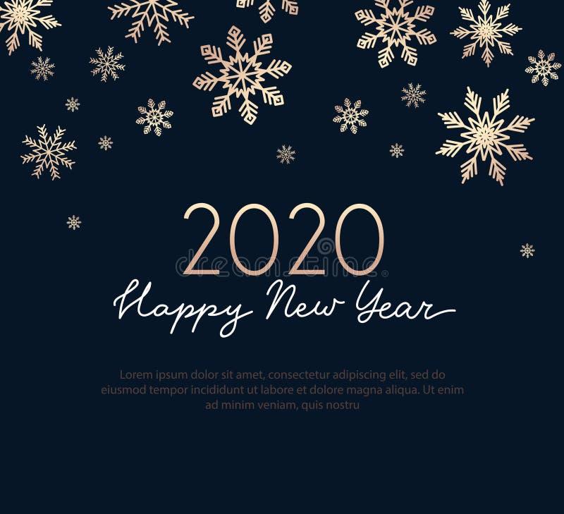 De gelukkige nieuwe kaart van de jaargroet met gouden sneeuwvlokken en marineblauwe achtergrond De luxeontwerpsjabloon van de lij royalty-vrije illustratie