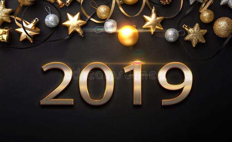 De gelukkige nieuwe lay-out van het jaarontwerp op zwarte achtergrond met 2019 en gouden stas royalty-vrije stock foto