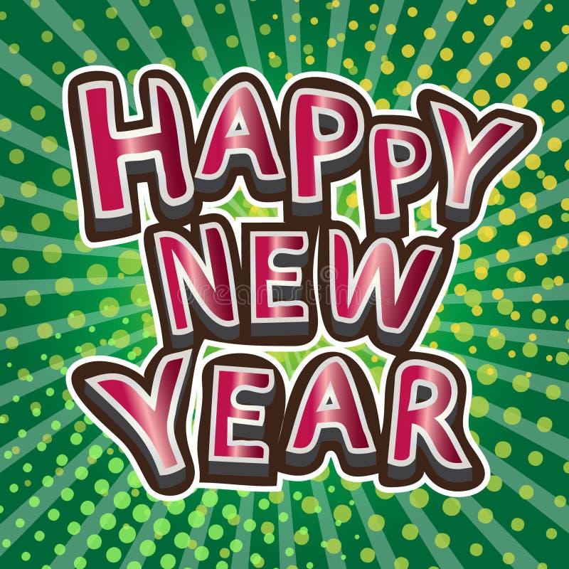 De gelukkige nieuwe ontwerpen van de jaartypografie op bokeh groene achtergrond royalty-vrije illustratie