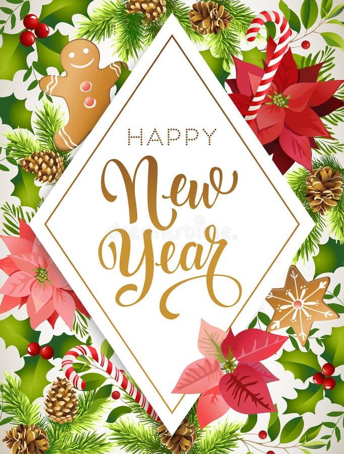 De gelukkige nieuwe samenstelling van het jaarontwerp van poinsettia, spartakken, kegels, peperkoek, suikergoedriet, hulst en and vector illustratie