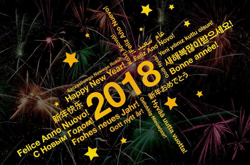De gelukkige nieuwe wolk van het jaar 2018 woord in de verschillende kaart van de talengroet met vuurwerk royalty-vrije stock foto